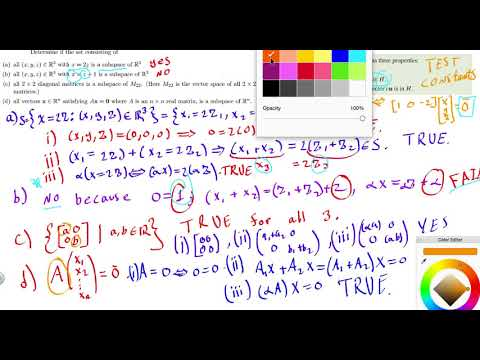 Determine if the set consisting of x,y,z, M22, Ax, is a subspace of R3, M22, R^n