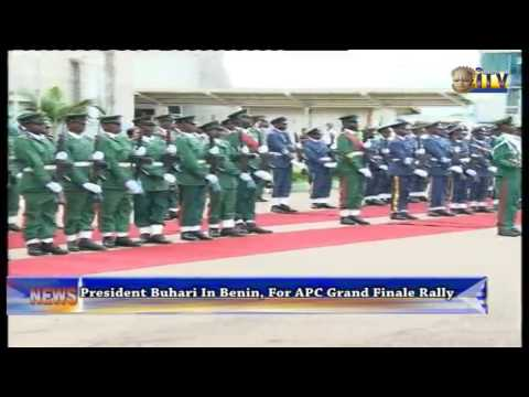President Buhari In Benin, For APC Grand Finale Rally