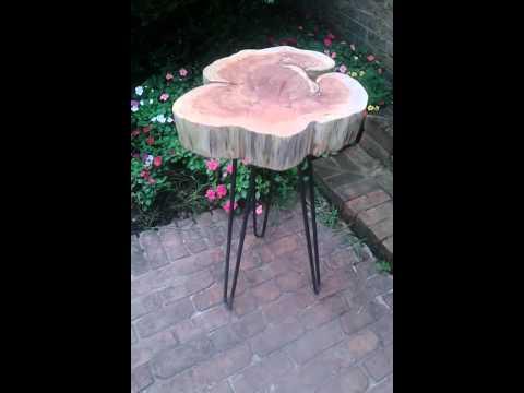 Red cedar table on hairpin tripod