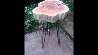 Red cedar table on hairpin tripod