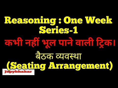 Reasoning in hindi   Sitting/seating Arrangement   Ssc Cgl, Rajasthan Police   One Week Series   P-1