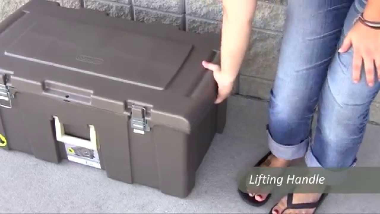 Sterilite Footlocker Plastic Storage Trunk   YouTube