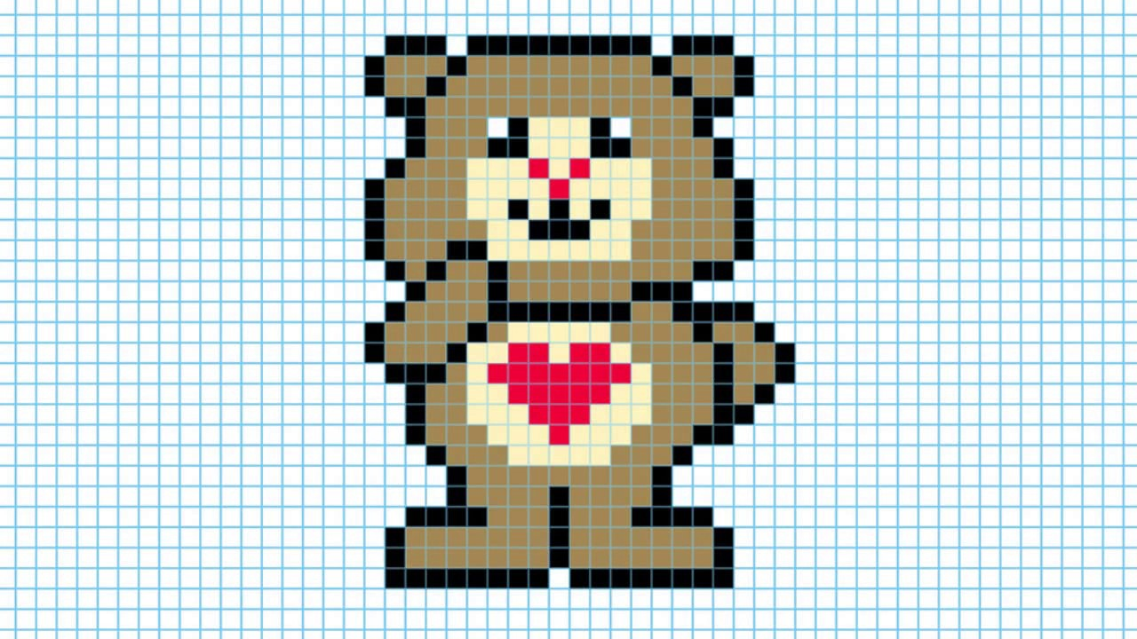 Картинка по клеткам медвежонок
