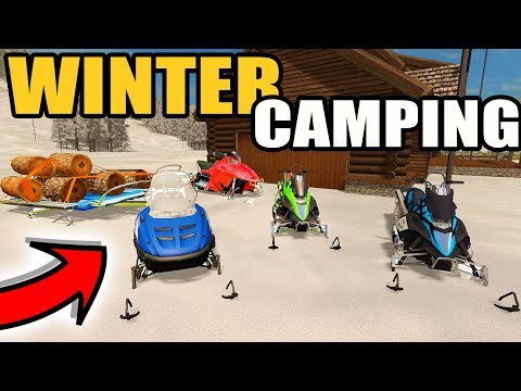 FARMING SIMULATOR 2017 | WINTER CAMPING IN MOUNTAINS | SKI-DOO, ARCTIC CAT, POLARIS
