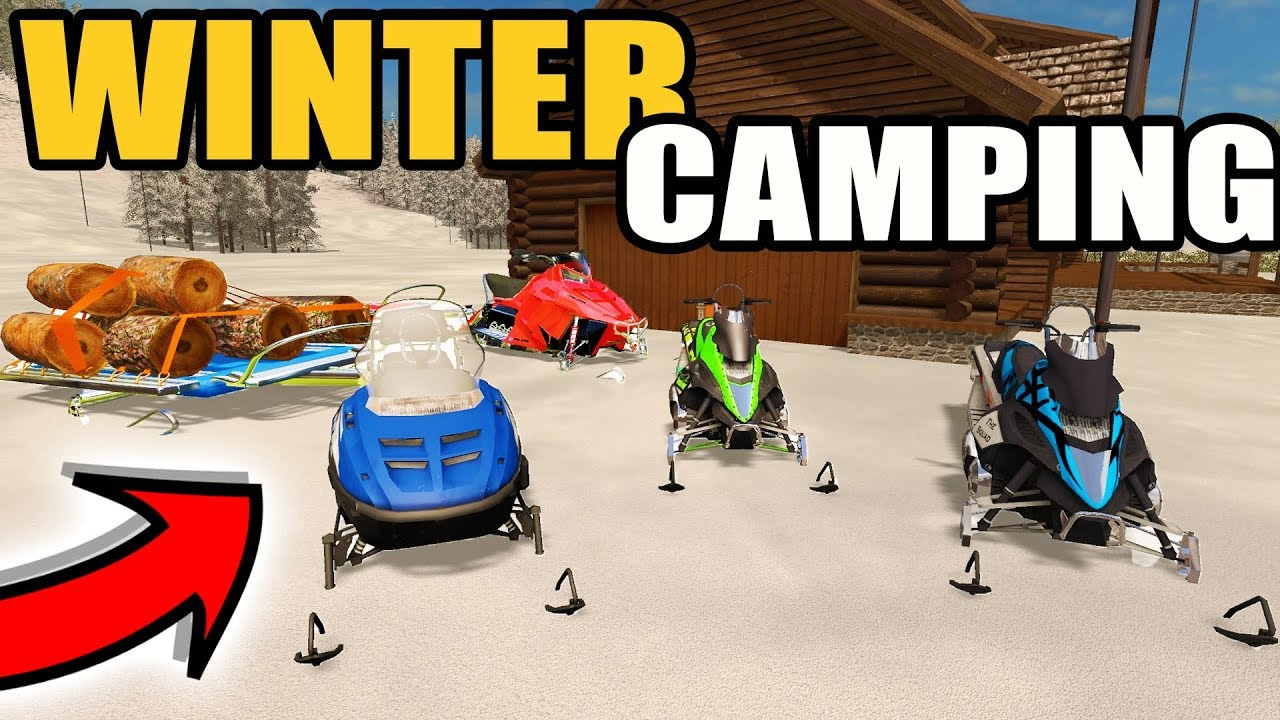 farming-simulator-2017-winter-camping-in-mountains-ski-doo-arctic-cat-polaris