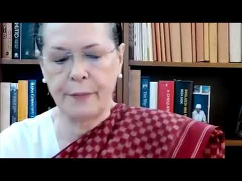 Congress President Smt. Sonia Gandhi at the Congress Parliamentary Party Meeting