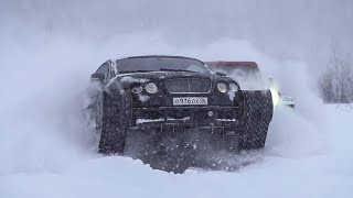 Bentley UltraTank & Jeep Wrangler Fight Against the Snow