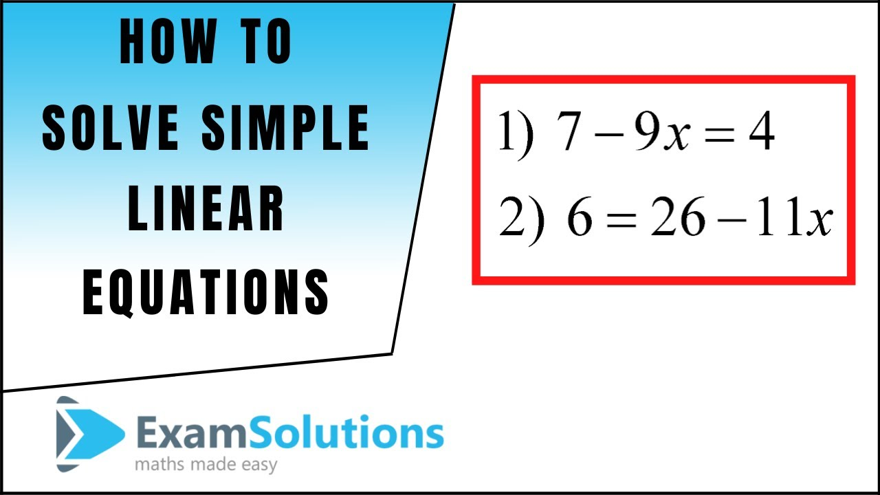 How to solve a linear equation (2) Exercise