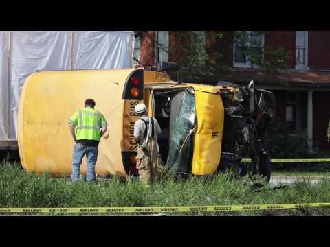 School bus carrying children overturns in Lancaster County, Pa., crash