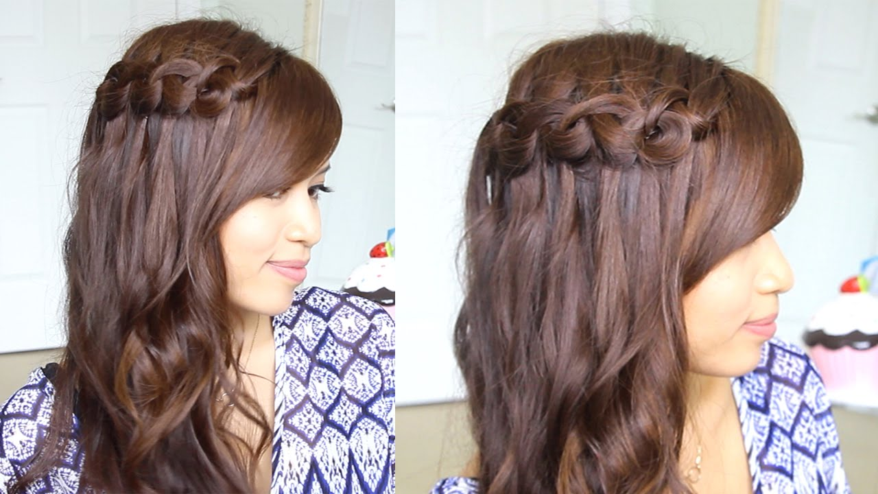 hair styles try on knotted loop waterfall braid hairstyle for and 5380