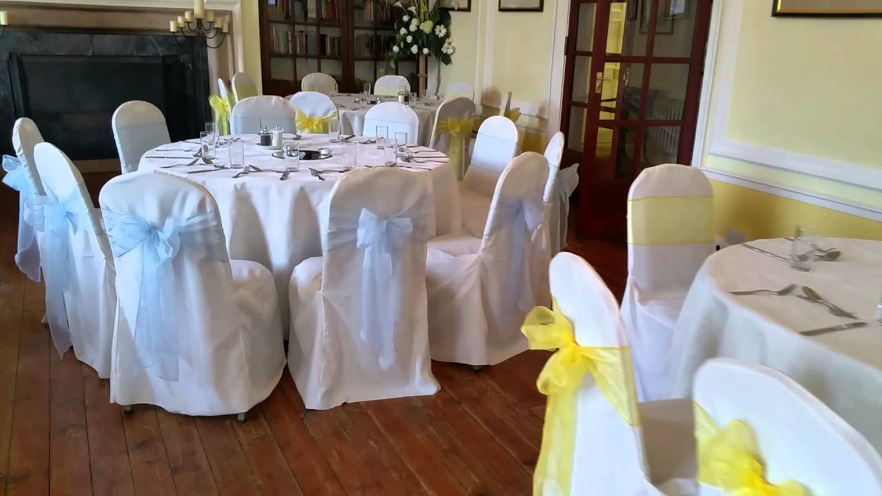Wedding Chair Covers at the Hemswell Court Blue and Yellow