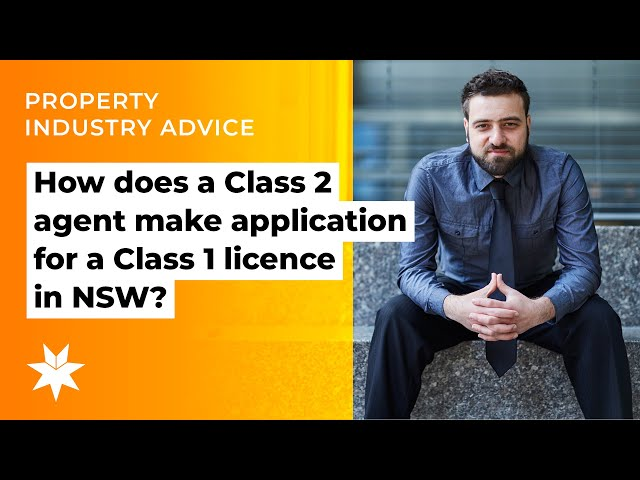 How does a Class 2 agent make application for a Class 1 licence in NSW?
