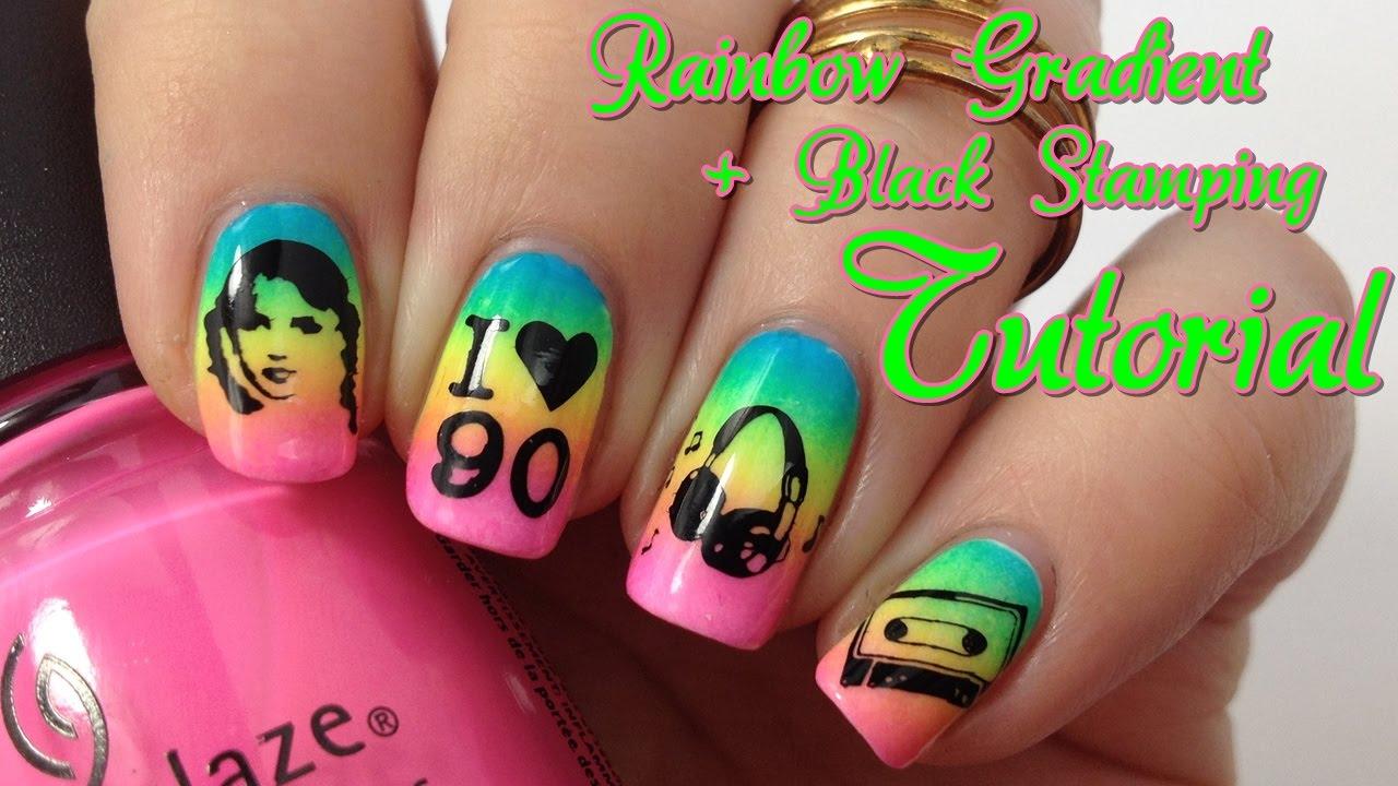 Back to the 90\'s Nail Art Tutorial deutsch: Neon Nageldesign mit ...