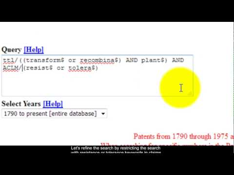 US Patent Office Advanced Patent Search Tutorial