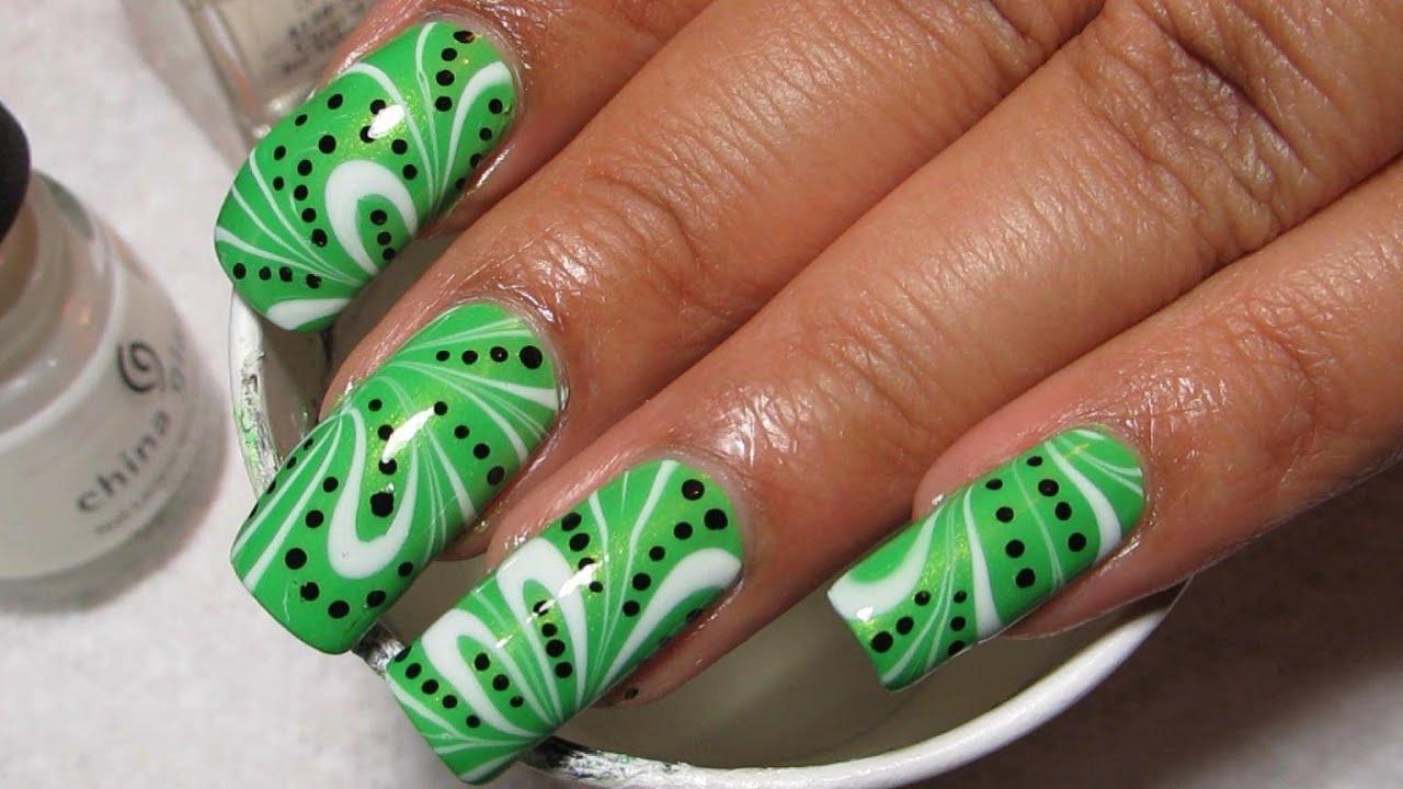 kiwi inspired water marble nail
