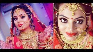 दुल्हन का मेकअप कैसे करें | step by step bridal makeup | Red and golden glitter Eye makeup|