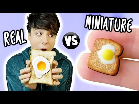 MINI Food vs. REAL Food 4!!! Egg, Toast, Cinnamon Bun & Croissant