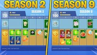 Evolution of Fortnite Battle Pass Items From Season 2 - Season 9! (Fortnite Nostalgia)