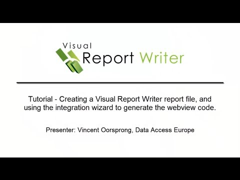 Visual Report Writer - Creating a report file, and using the wizard to  generate webview code