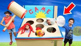 กล่องกระดาษตู้เกมส์ ค้อนทุบหัวสัตว์ ไซส์ยักษ์ใหญ่ เปิดแล้วที่งานวัดดอนกระโทก โทก!!