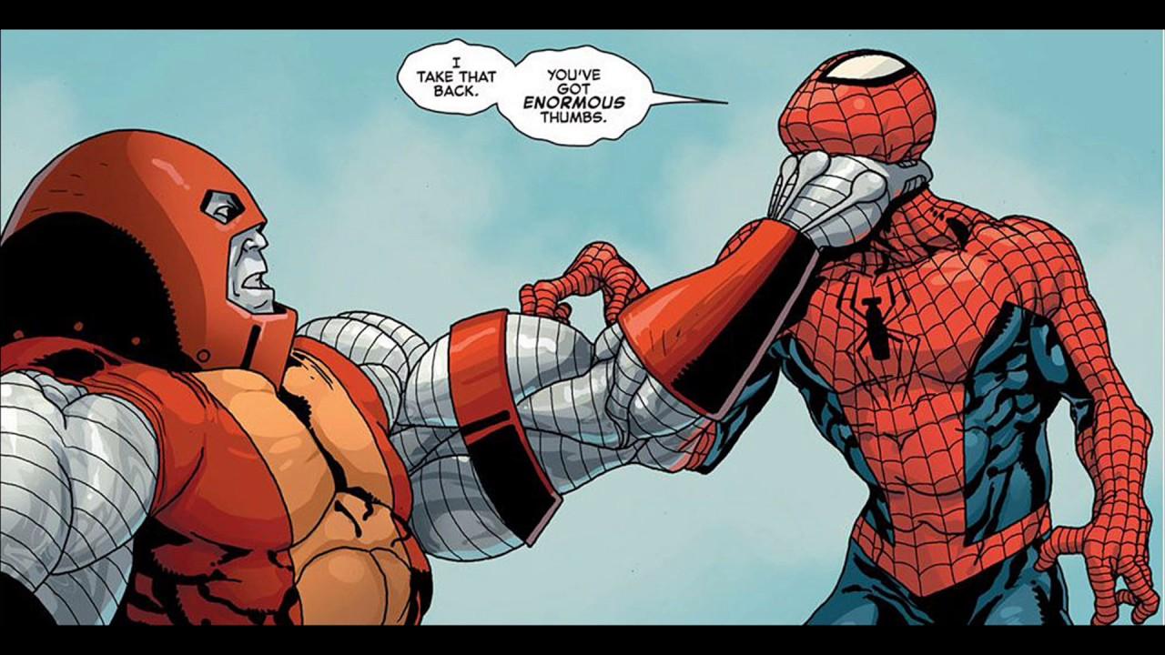 spiderman vs colossus as juggernaut avengers vs xmen
