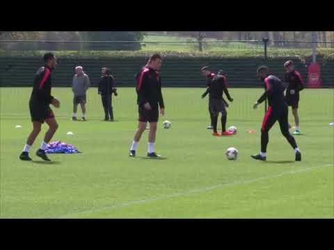 Arsenal training ahead Europa League semi final matchup vs Atletico Madrid