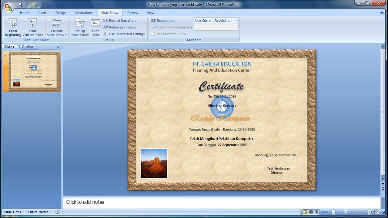 powerpoint training how to make your own certificate in powerpoint