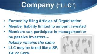 What is difference between sole proprietorship, LLC, corporation and limited partnership?
