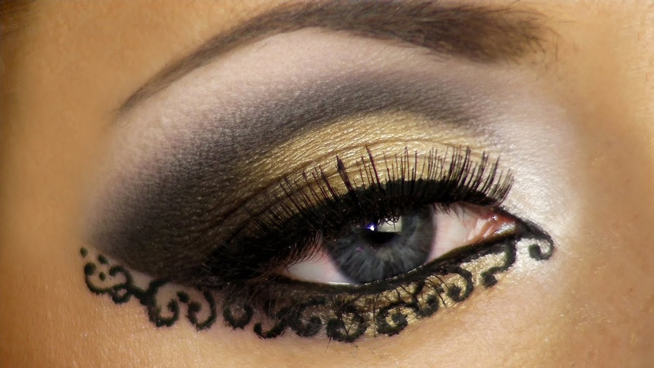 Lace Makeup Look Tutorial (Arabic makeup) / Арабский ... Mbw