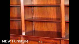 11ft Wide Mahogany Gothic Sectional Open Bookcase Cabinet (mbwjtbcs006-pnc)