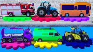 Learn Shapes Colors with Water Tank, Fire Truck, Tractor, Spec Truck Parking Vehilce for Kids