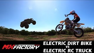 Electric Dirt Bike Vs RC Truck Battle w/ NHRA Champ Tony Schumacher!!