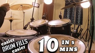 10 Easy Drum Fills in 5 Minutes @ 60 BPM | Drum Lesson