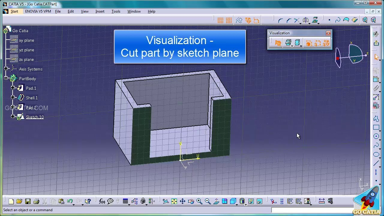 Catia Sketcher Cut Part By Sketch Plane Youtube