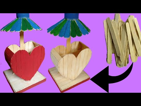 DIY pen stand by wooden spoon. How to make a pen stand by ice cream spoon.