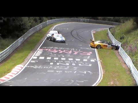 VLN Race #6 Nürburgring 2009 - Crash Porsche 996 GT3 RSR & Dolate BMW M3