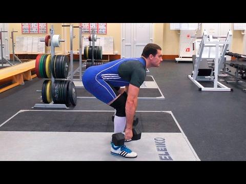 Как делать становую тягу с гантелями