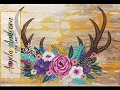 Deer Antlers with Easy Flowers Acrylic Painting Tutorial for Beginners LIVE