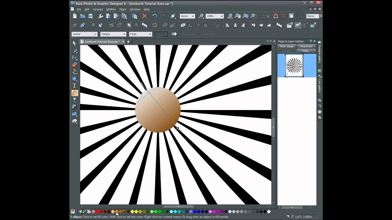 sun ray vector sunburst in xara photo and graphic designer youtube rh youtube com