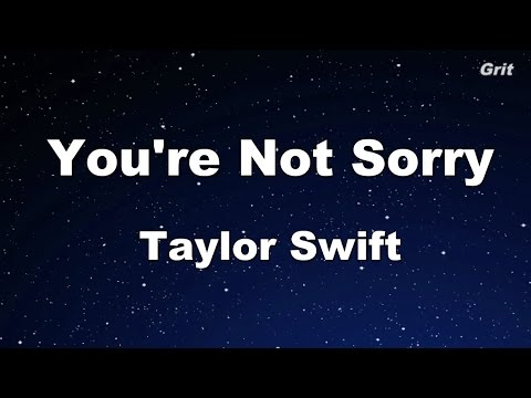 You're Not Sorry  - Taylor Swift Karaoke【No Guide Melody】