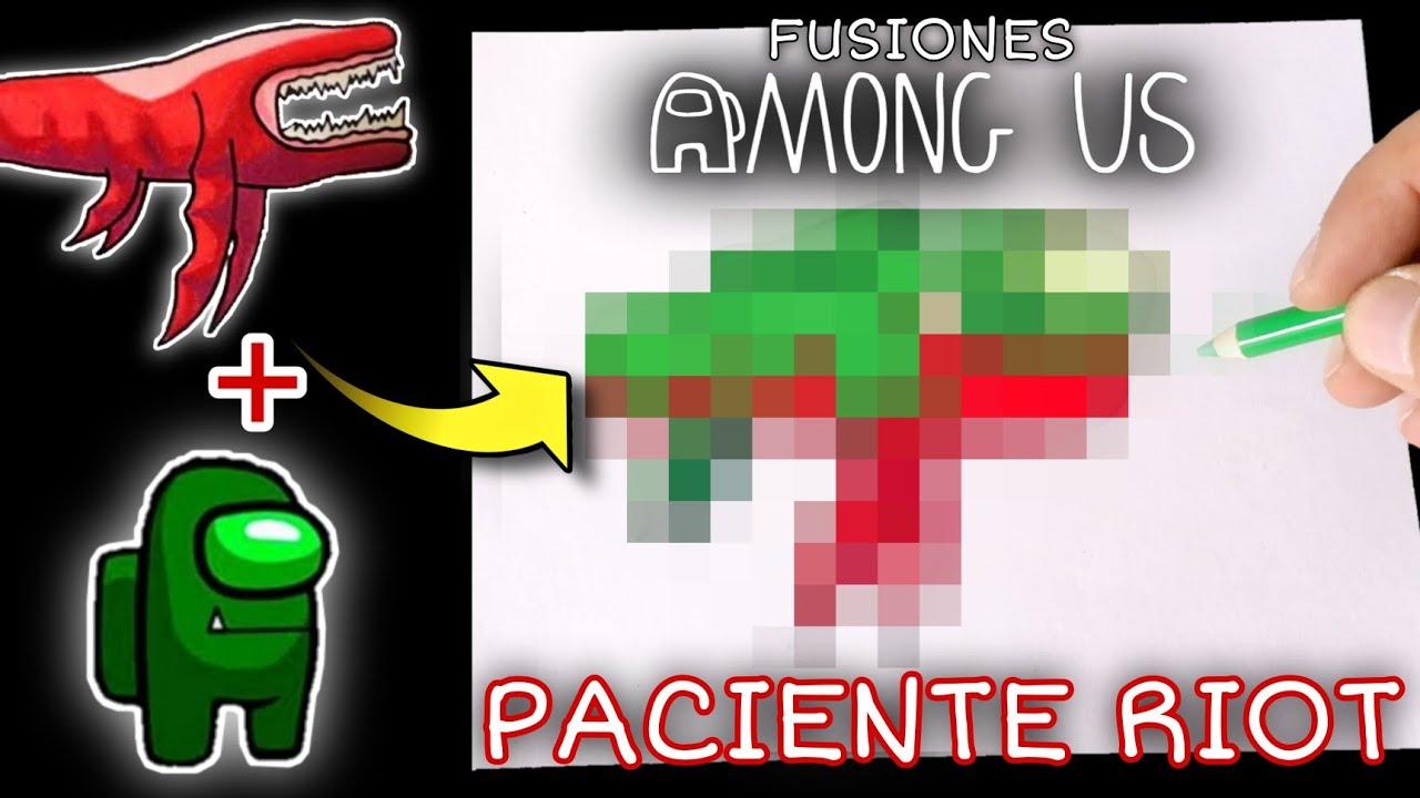 DIBUJO LA FUSIÓN DEL PACIENTE 0 Y RIOT ( PACIENTE RIOT ) DE AMONG US   FUSION ART CHALLENGE   Cuns