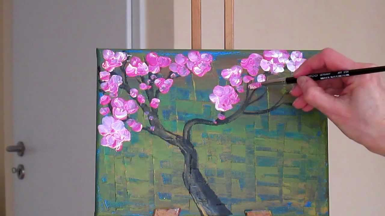 Blossom tree oil painting the image kid for Canvas painting of cherry blossoms