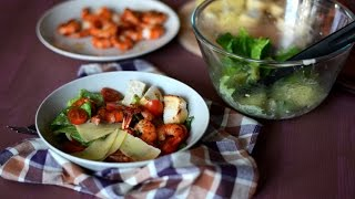 """Готовим салат """"Цезарь"""" (с креветками) простой, быстрый рецепт."""
