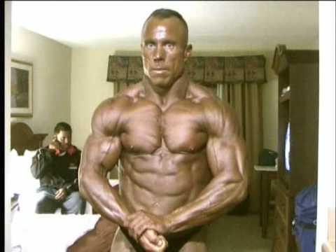 Bodybuilder James Savage posing practice