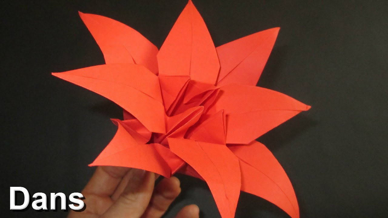 How To Make An Oriami Lily Flower With 8 Petals New Folds Included