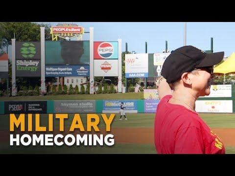 Bama, Rob & Heather - C'mon Get Happy: Marine Surprises Mom at Baseball Game--He's the Catcher!