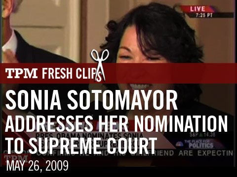 Sonia Sotomayor Addresses Her Nomination To Supreme Court