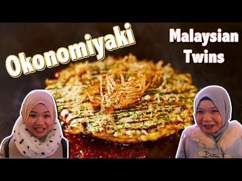 Malaysian Twins Try Muslim Friendly Okonomiyaki !!! (Osaka Chibo)