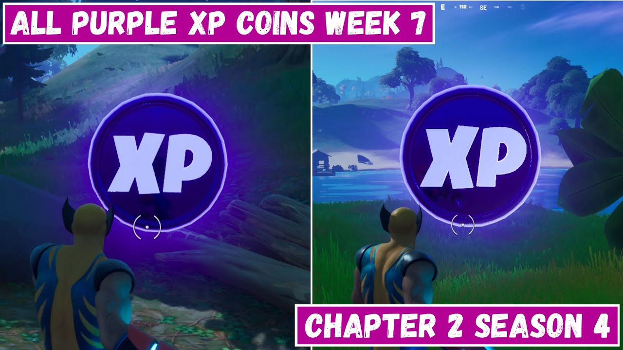 Download All 2 Purple XP Coins Locations Week 7! - Purple Power Punch Card Fortnite Chapter 2 Season 4