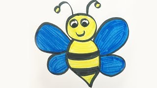 How to draw and color a Bumble Bee -for kids!